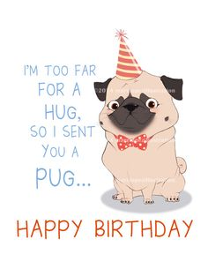 Party Pug Birthday Card Approximately 5 X 7 Blank By MarcLopez Happy Greetings