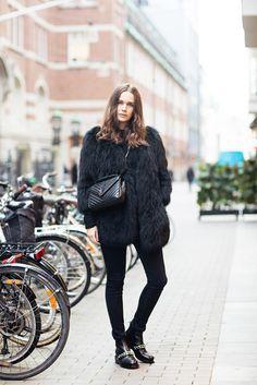 Coat: carolines mode blogger jeans bag shoes big fur black winter outfits winter black jeans all