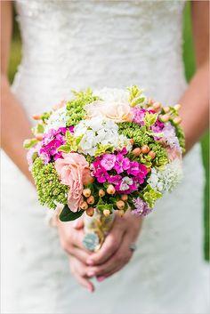 mixed bouquet   green, pink, and white bouquet   garden style bouquet   farm wedding   #weddingchicks