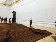 Installation view of Ai Weiwei's Straight-90 tons of steel bars taken from the school buildings that collapsed during the 2008 Sichuan earthquake, leaving over 5,000 children dead.--- at London's Royal Academy of Arts, 2015.<br>Photo: Lorena Muñoz-Alonso