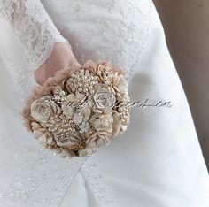 "#Rustic #Chic #Wedding #Brooch #Bouquet. Deposit - ""#RusticChic"" #Beige #Pearl, #RusticWedding Bouquet. #Heirloom #Country #Bridal #Broach #Bouquet"