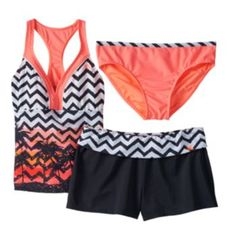 31e921911f ZeroXposur Chevron Palm Tree 3-pc. Tankini Swimsuit Set - Girls Plus kohls  Cute