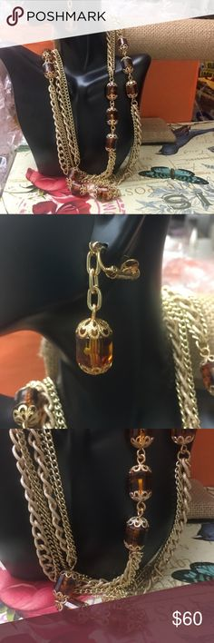 Sarah Cov Amber & Gold Stunning set Sara Coventry Absolutely stunning amber and gold plated extra long necklace and clip on earrings. In excellent condition! Would make a beautiful gift! Vintage high quality jewelry! Necklace is 48 inches long. Sarah Coventry Jewelry Necklaces