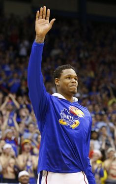Ben gives a thank you wave to those at Allen Fieldhouse....we'll miss you Ben!    photo from www.kusports.com