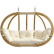 Globo Double Patio Swing Natural - Byer of Maine Pattern: Solid. Globo Double Patio Swing Natural - Byer of Maine Patio Swing, Hammock Swing, Hammock Chair, Swinging Chair, Porch Swings, Chair Cushions, Chair Pads, Swivel Chair, Hammocks