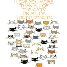 I Love You More Than All the Cats On All the Internets card by bishopart on Etsy Love You More Than, I Love You, My Love, Crazy Cat Lady, Crazy Cats, I Love Cats, Cool Cats, I Miss You Card, Cat Valentine