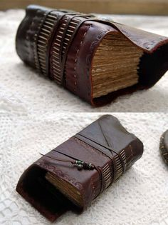 The Wild Thinker - Extra Thick Two-Toned Reclaimed Leather Journal, Hand Embossed with Tea Stained Pages OOAK.