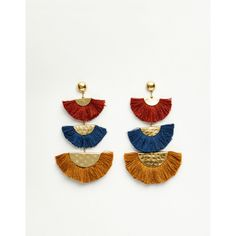 Block earrings with fringe detail ($11) ❤ liked on Polyvore featuring jewelry, earrings, fringe earrings, fringe jewelry, block earrings and earring jewelry
