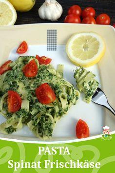 Rezept für Pasta mit Spinat Frischkäse Sauce und Tomaten, ideales Familienessen. Denn dieses Nudelgericht schmeckt den Kids und Eltern. Daher auch bestens als Kinderessen geeignet. Kinderrezept. - Meinestube #pasta #spinat #vegetarisch