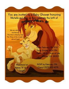 lion king baby shower theme | Style: #14 Lion King Shower Invitation