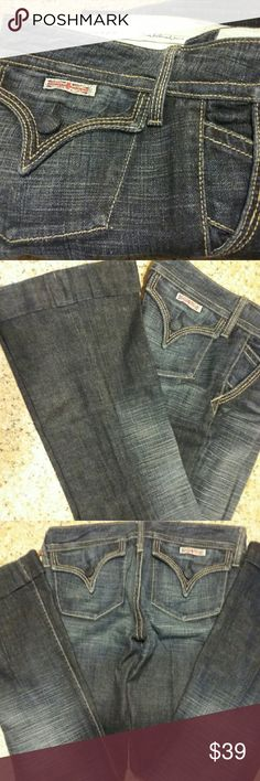"""LIKE NEW HUDSON JEANS!! Rare find, EUC, size 25 These are amazing! Cuffed trouser style meets low-rise sexy and classic HUDSON JEANS. Flat pockets, cloth buttons (WOW!!). 7""""  front rise, 30"""" inseam, 9.5"""" across at hem, 2"""" cuff. Very minor fading at cuff fold, NO rips, fraying, stains or other imperfections. EUC dark blue wash. Hudson Jeans Jeans Flare & Wide Leg"""