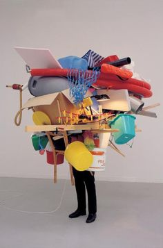 Daniel FIRMAN - Gathering, (2000) Plaster, clothes, shoes, sound, light, objects made of plastic, metal … 270 x 160 x 200 cm