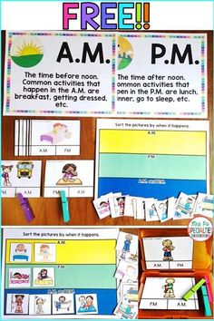 These FREE materials will help you teach your students  what A.M. and P.M. mean. Use the task cards and picture sort to practice and generalize the concept. This resource is great for work tasks, task bins, math centers, early finishers and for special education classrooms. Follow shopmrspspecialties.com for more hands on resources.