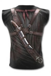 Spiral Gothic Steampunk T-Shirt Vest with Holster Wrap AO Design - Click to enlarge