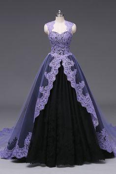 Purple Wedding Gown, Purple Gowns, Black Wedding Dresses, Purple Dress, Gown Wedding, Purple Lace, Purple Ball Dresses, Purple Ballgown, Purple Black Wedding