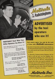 Motorola two-way radio taxi print advertisement, USA, circa 1948.
