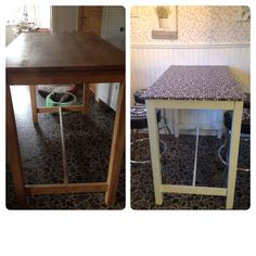 Before and after pic :)  Just a little paint and a bit wallpaper and it's a new table.