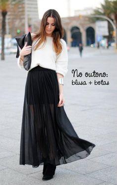 Já que dica da semana foi como usar saia longa no frio. Olha esse exemplo de look que perfeito.