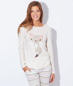 Pyjama 2 pièces, bas rayé - YOURI - BEIGE / CREME - Etam Lingerie - octobre 2015 - 39,90€