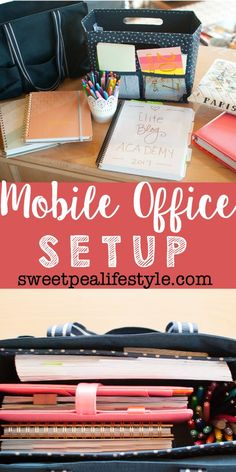 Mobile Office Setup - here are some great tips for setting up an office that goes where you go! These are the essential items, the must haves for any mobile office! Small Office Organization, Purse Organization, Organizing, Car Office, Office Setup, Office Ideas, Home Office Design, Home Office Decor, Design Desk