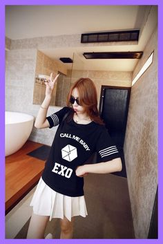 2016 kpop Exo Llamarme lbum Del Beb Tapa del verano Tees Camisetas k-pop k pop Femenino de la Camiseta de Las Mujeres Camisetas Exo, Cheer Skirts, T Shirt, Tops, Fashion, Shopping, Costume Dress, Girly, T Shirts