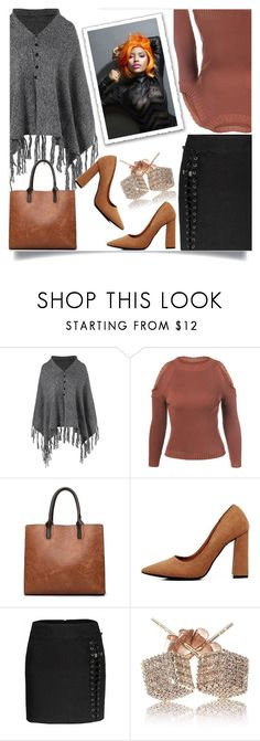 """Pullover sweater in brown"" by nejra-l ❤ liked on Polyvore featuring Nicki Minaj, Sweater, grey, brown, pullover and poncho"