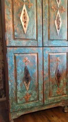 Annie Sloan chalk paints, Modern Masters, Wood Icing and SK Sartell turning a plain pine armoire into a rusted copper TV cabinet. (SOLD)