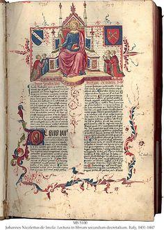 JOHANNES NICOLETTUS DE IMOLA: LECTURA IN LIBRUM SECUNDUM DECRETALIUM ::   MS in Latin on paper, Padua?, Italy, 1431-1447