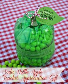 Soda Bottle Apple--Teacher Appreciation Gift Idea and Free Print - The Cards We Drew