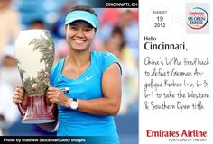 """Today's postcard reads: """"China's Li Na fired back to defeat German Angelique Kerber 1-6, 6-3, 6-1 to take the Western & Southern Open title."""""""