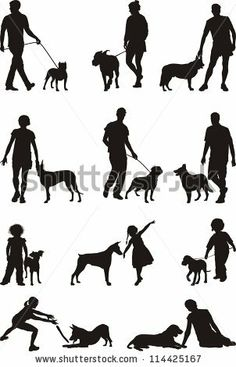 A dog - man's most faithful friend, illustrations of people and dogs - stock vector