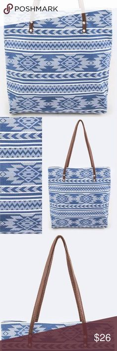 """Blue & White Aztec Tote We love this bag! Perfect to hold all your goodies!   Length - 16"""" Width - 4"""" Height - 14"""" / 24"""" with Faux leather handle Canvas Material Inside magnet snap clasp Owl About Happy  Bags Totes"""