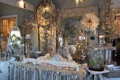 52 FLEA: Christmas 2011 at Taken For Granite love the swan Craft Fair Displays, Market Displays, Merchandising Displays, Store Displays, Window Displays, Display Ideas, Craft Booths, Boutique Displays, Christmas Booth