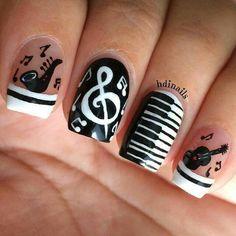 Jazz Music Nail Design