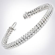 Celebrity style diamond tennis bracelets by HadarDiamonds.com . Two rows of high quality diamonds set in yellow or white gold, or for the ultimate Red Carpet look, set in platinum!  #diamondtennisbracelets