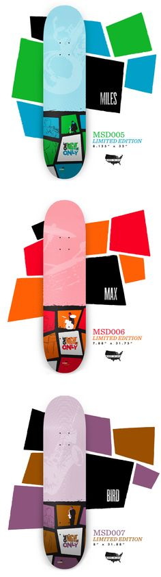 Miles Davis, Max Roach and Charlie Parker. By Music Skateboards. Surfboard Skateboard, Skateboard Design, Skateboard Decks, Skate 4, Skate Decks, Snowboard Design, Miles Davis, Young Designers, Snowboards