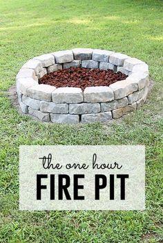 The One Hour Fire Pit - 39 DIY Backyard Fire Pit Ideas You Can Build - http://www.bigdiyideas.com