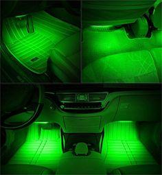 Onepalace 4Pcs Car LED Interior Underdash Lighting Kit Led Car Interior Light  Auto Interior Lights Car Auto Interior LED Atmosphere Lights (Green