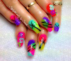 Tropical nails  Palm tree  Coffin summer nails  Styliztik nailz by Sarah