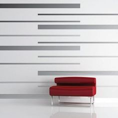 Room Stripes Wall Decals | Vinyl Wall Decals | Trendy Wall Designs - This would be an easy way to add stripes to B's wall -thick navy & thin red