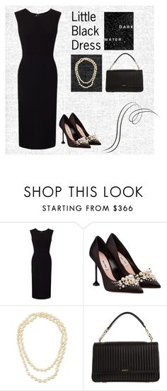"""""""Little black dress"""" by mia-de-neef ❤ liked on Polyvore featuring Roland Mouret, Miu Miu, Chanel and DKNY"""