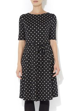 Black Spot Fit and Flare Dress