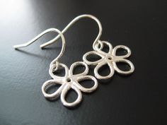 """Julie Ellyn Designs Jewelry""  Rustic Flower Sterling Silver Earrings - Sterling Silver Starting at $3 on Tophatter.com!"
