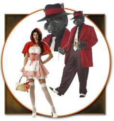 "This creative adult take on ""Red Riding Hood and the Wolf"" fairy tale theme is so much better than donning the usual long red cape and wolf mask. Why not have some fun with a traditional theme and see what you can come up with."
