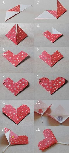 Origami heart. Other variations include using it as a bookmark or a mini card.
