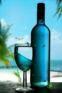 Glass of Wine on the Beach summer beach drink wine bottle cocktail
