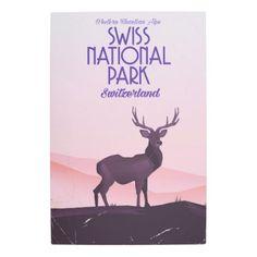 #Posters #Metal #Art - #Swiss national park vintage travel poster