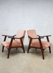 Vintage Danish design lounge fauteuils armchairs lounge chair pink velvet