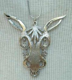 Rafaelian Large Laughing Donkey Pendant Necklace Rhinestone Eyes Signed Vintage Jewelry. $22.00, via Etsy.
