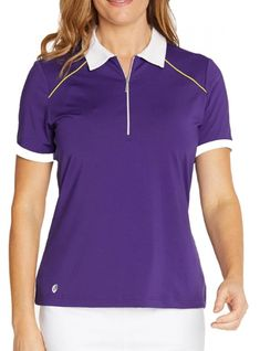 If you're in the market for some new outfits, consider our women's apparel! Shop this comfortable and stylish PULSE (Plum/White/Butter) GGblue Ladies Julia Short Sleeve Golf Polo Shirts from Lori's Golf Shoppe.